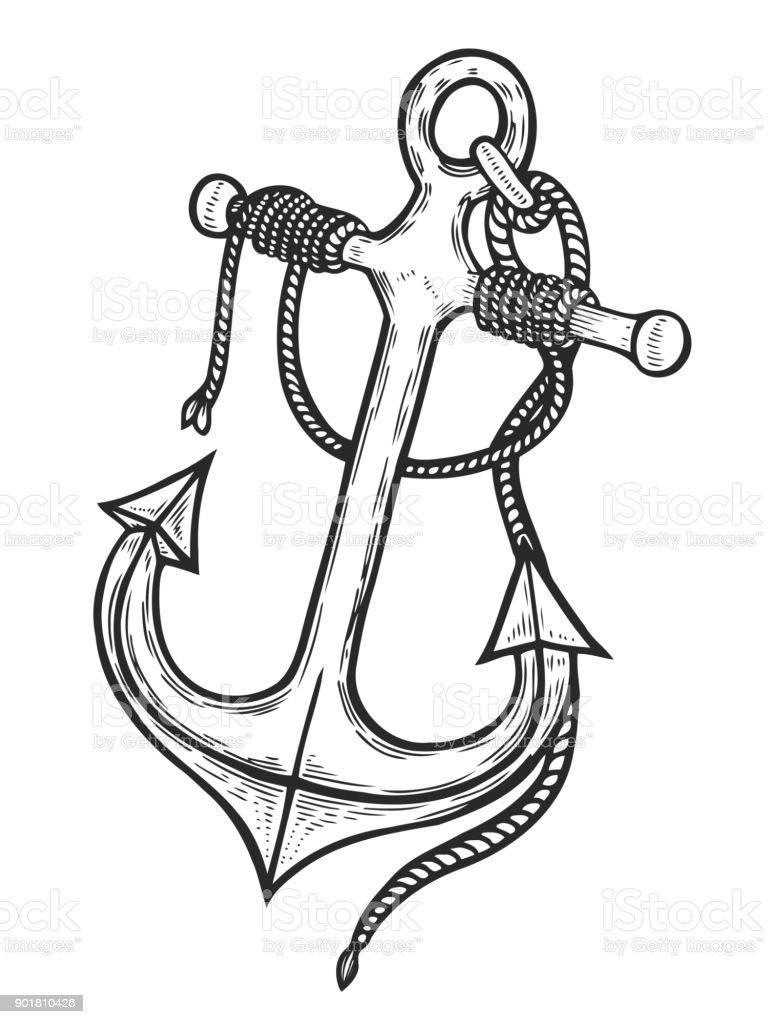 Vintage anchor with rope vector art illustration