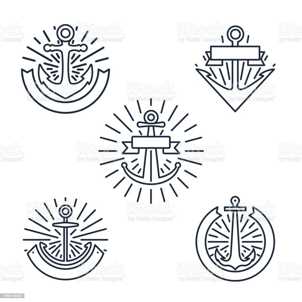 Vintage anchors linear logo set or line nautical labels – Vektorgrafik