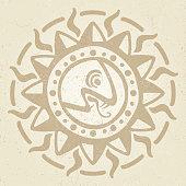 Vintage ancient mexican vector mythology symbol - aztec, mayan culture native totem