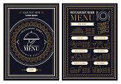 Vintage and art restaurant menu design. stock illustration