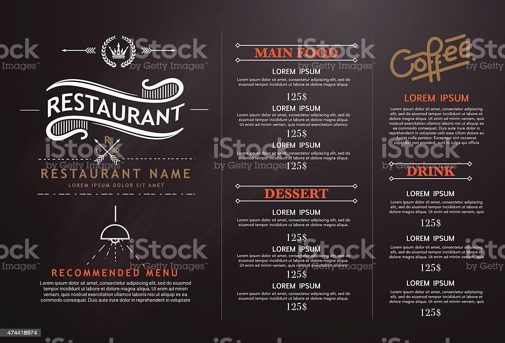 vintage de arte y diseño de menú de restaurante. - ilustración de arte vectorial