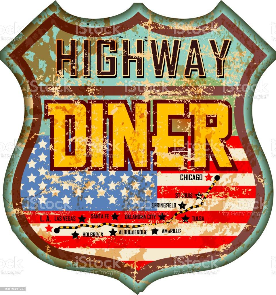 vintage and battered enamel american diner sign, retro style, vector art illustration
