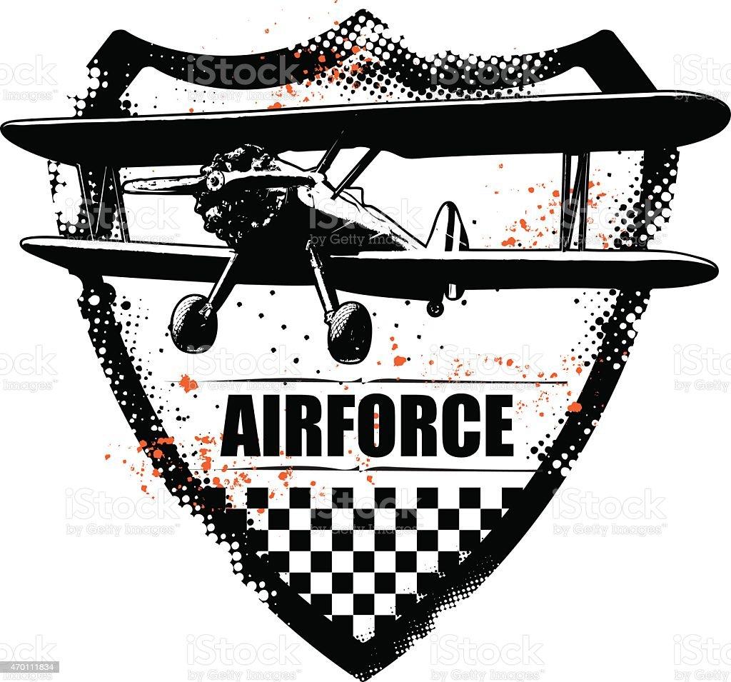 vintage grunge y apantallamiento con avión con hélices - ilustración de arte vectorial