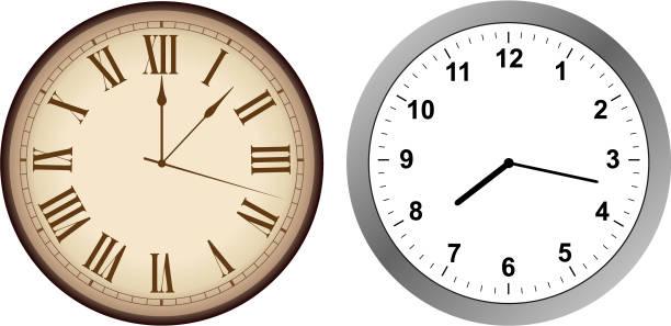 빈티지와 현대 시계 벡터 아트 일러스트