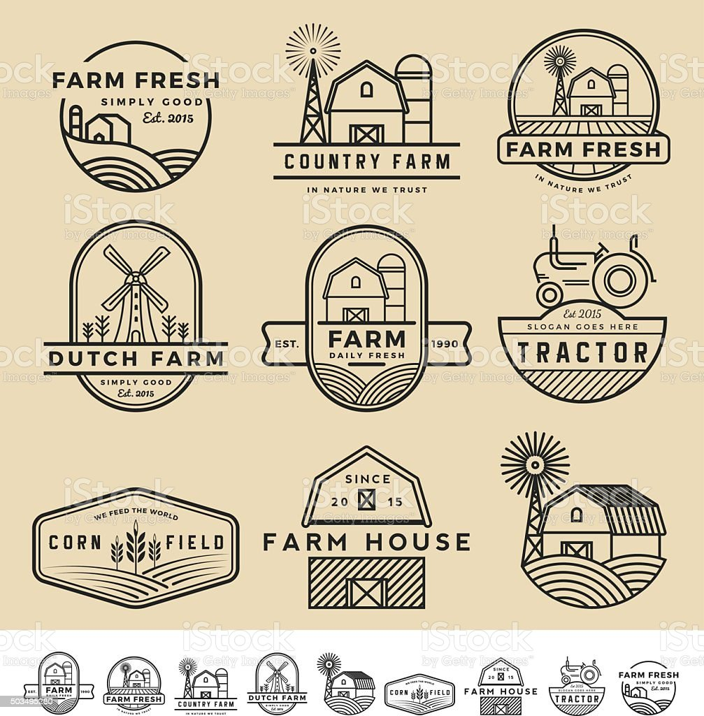 vintage and modern farm badge logo and labels vector art illustration