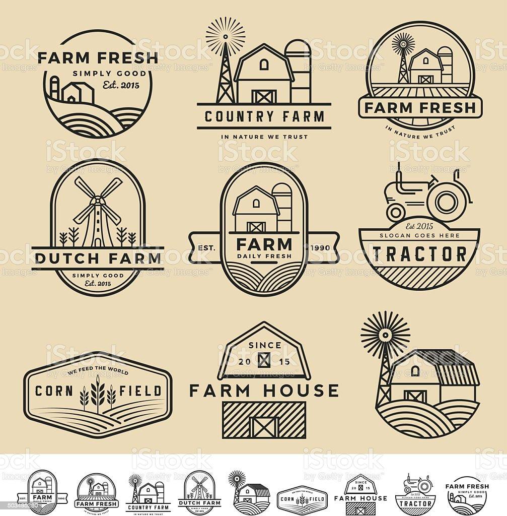 badge vintage et moderne et étiquettes logo ferme - Illustration vectorielle