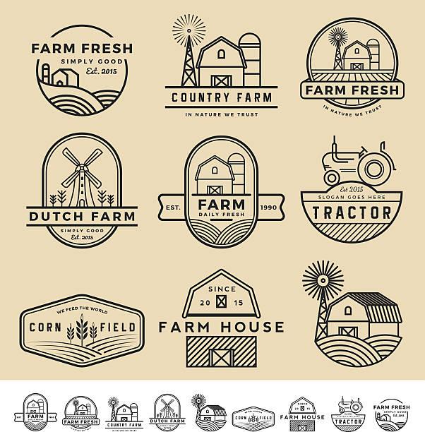 vintage und moderner Bauernhof-Abzeichen und Etiketten-logo – Vektorgrafik