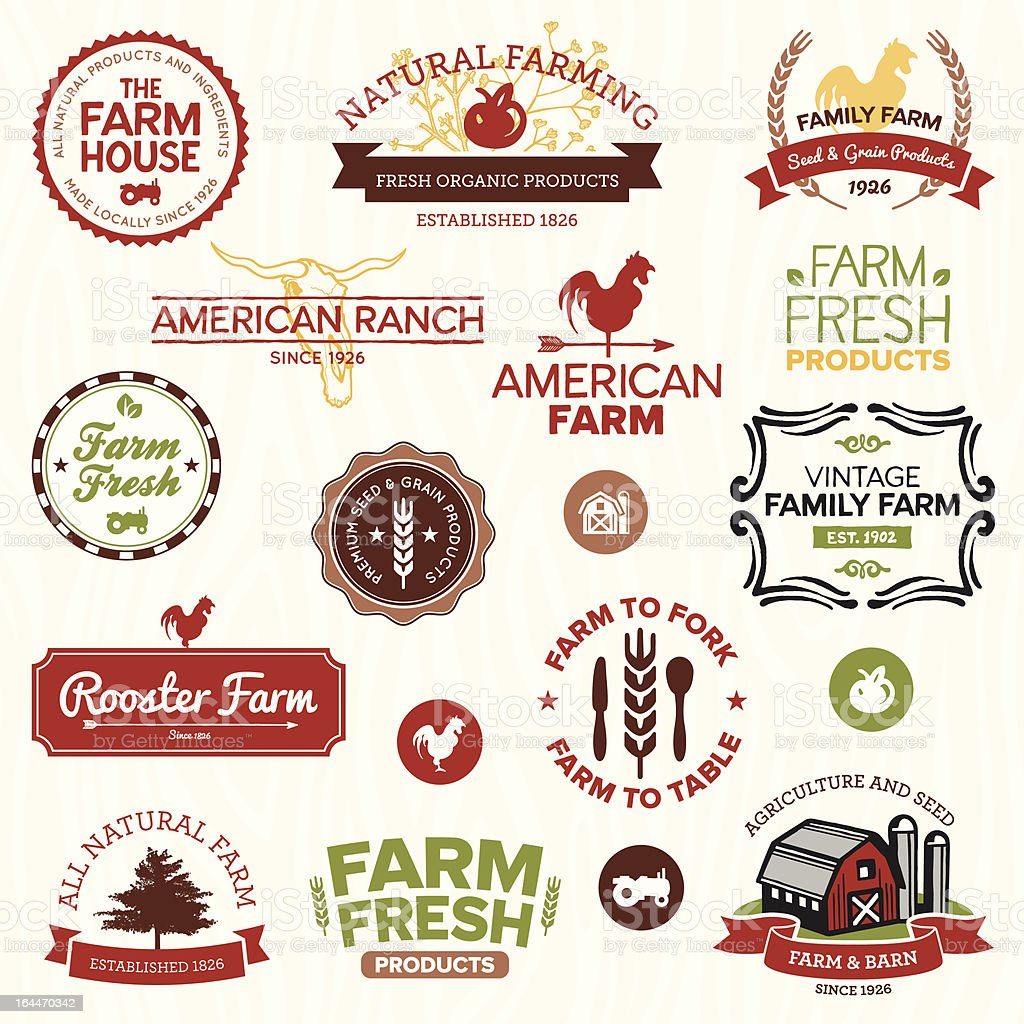 Vintage and modern farm labels vector art illustration
