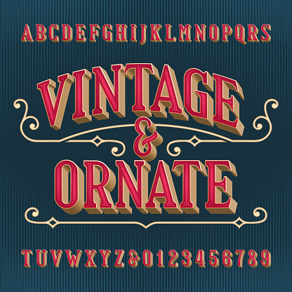 Vintage and ornate alphabet font. 3D effect letters and numbers.