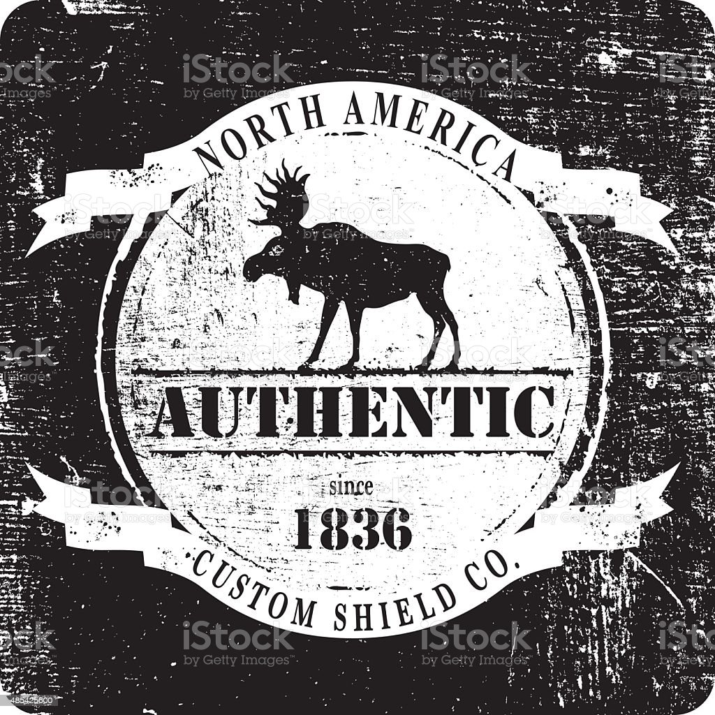 vintage and stencil moose shield