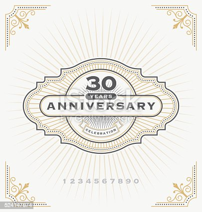 Vintage anniversary celebration message emblem label. Vector illustration