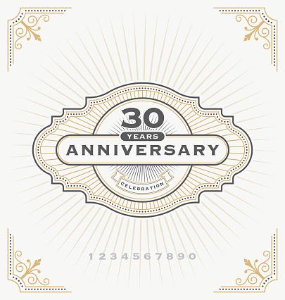Vintage anniversary celebration label
