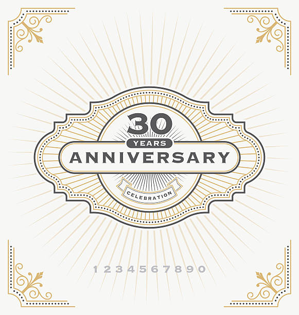 vintage anniversary celebration label - anniversary designs stock illustrations