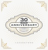 Vintage anniversary celebration label