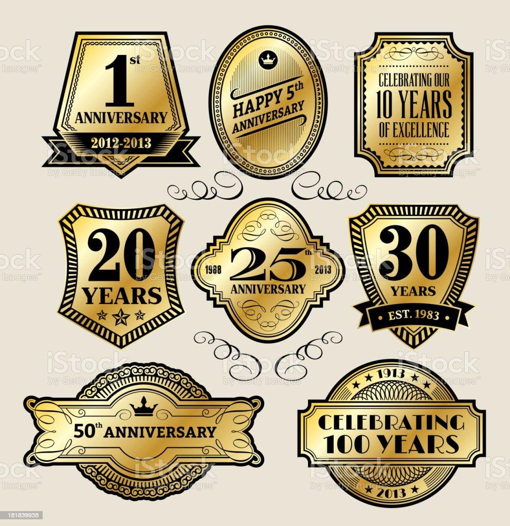 Vintage Anniversary Gold Badges vector art illustration