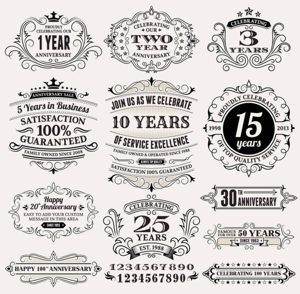bildbanksillustrationer, clip art samt tecknat material och ikoner med vintage anniversary labels, frames and design elements with copy space - 20 29 år