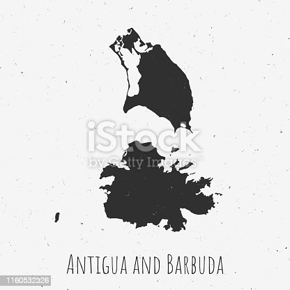Black and white Antigua and Barbuda map in trendy vintage style, isolated on a dusty white background. A grunge texture is used to have a retro and worn effect. His name is written on the bottom of the image. Vector Illustration (EPS10, well layered and grouped). Easy to edit, manipulate, resize or colorize.