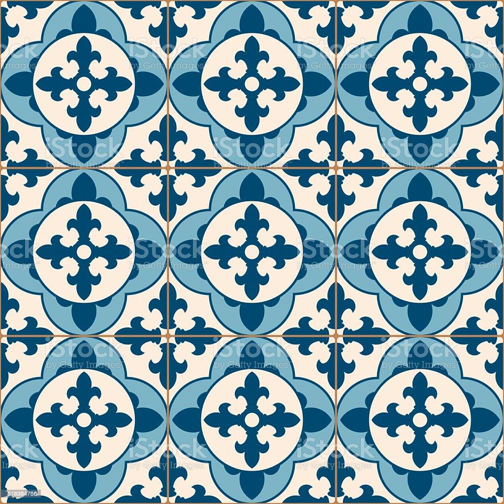 Vintage Antique Blue Mosaic Porcelain Tiles Seamless Pattern vector art illustration