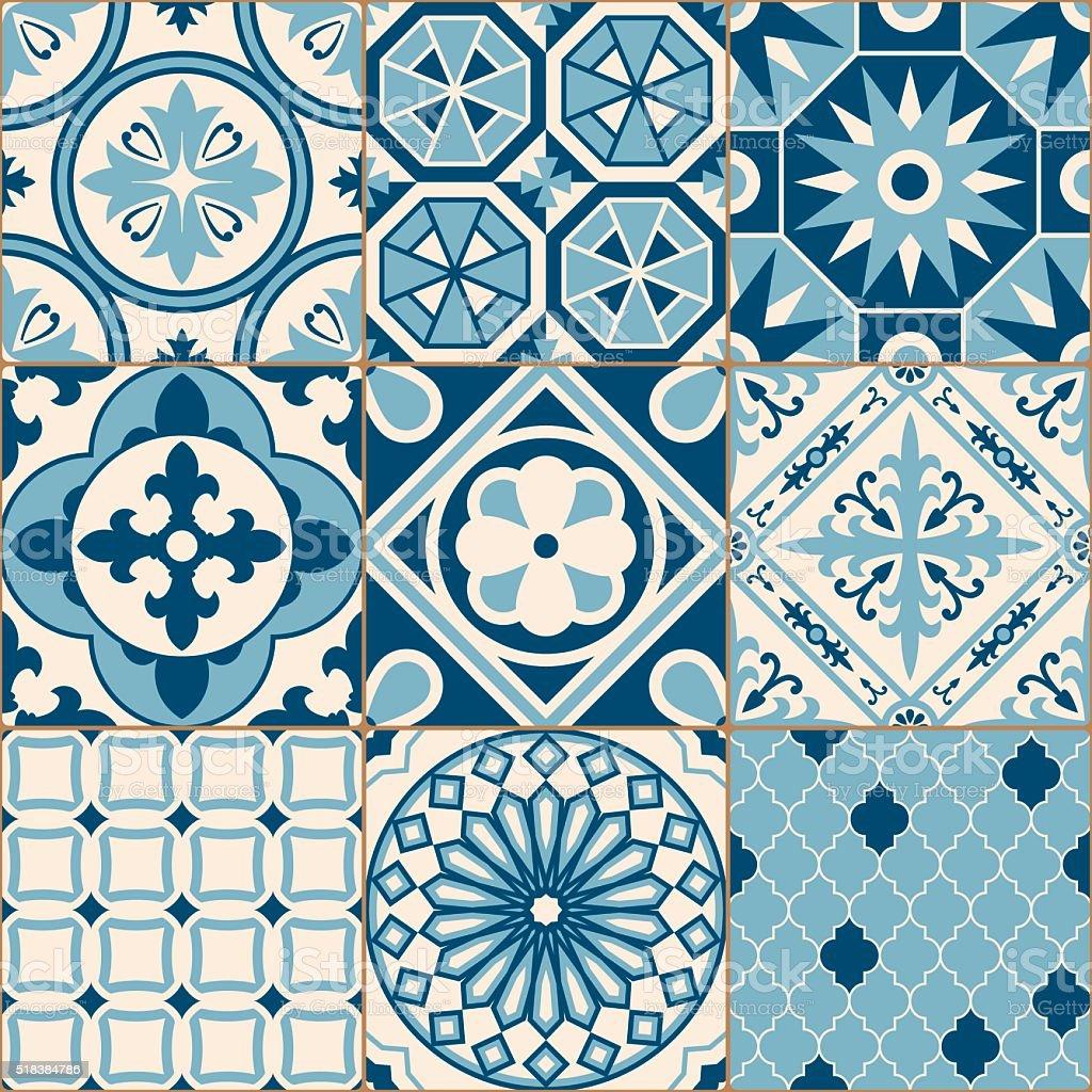 Antigo vintage azul mosaico azulejos de porcelana padr o perfeito vetor e ilustra o royalty - Azulejos vintage ...