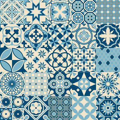 Vintage Antique Blue Mosaic Porcelain Tiles Seamless Pattern