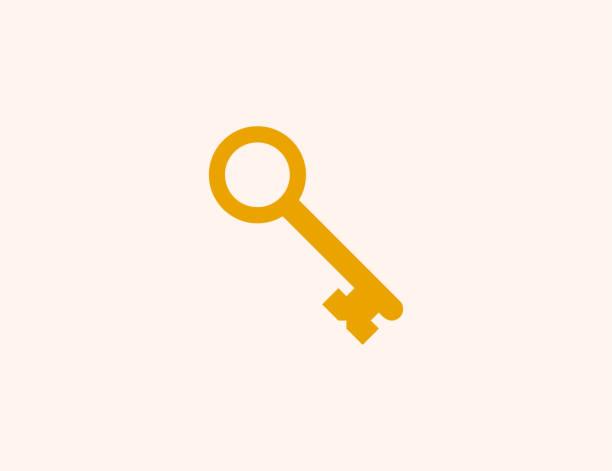 vintage antyczne ikony wektora klucza. izolowany stary klucz płaski, kolorowy symbol ilustracji - wektor - klucz stock illustrations