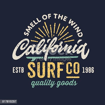 Vintage t-shirt apparel graphic design for surfing company, hand lettering calligraphy 'California'