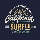 Vintage apparel design for surfing company