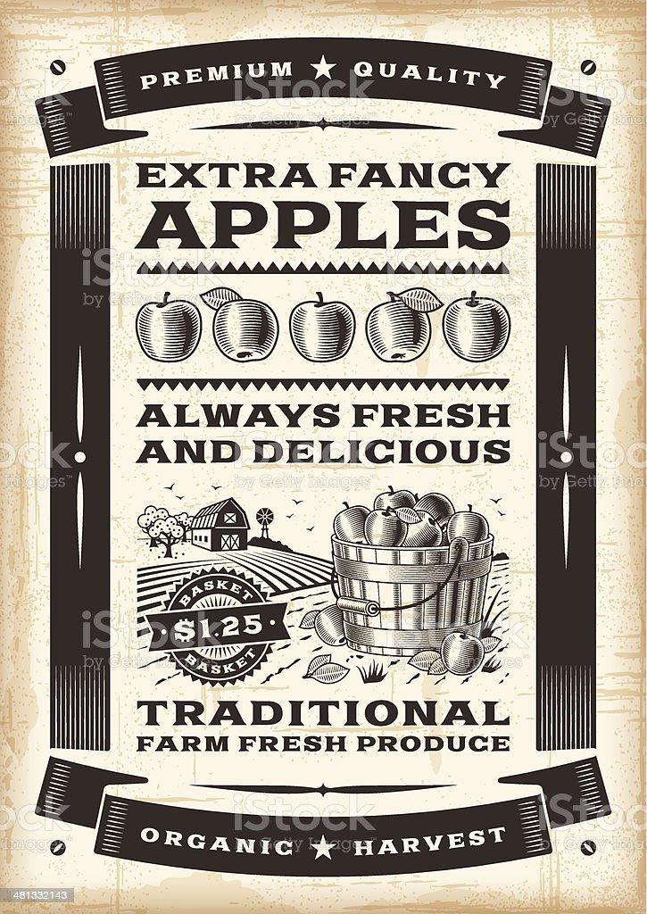 Vintage apple harvest poster royalty-free stock vector art