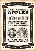 Vintage apple harvest poster in woodcut style. Editable EPS10 vector illustration. Includes high resolution JPG.