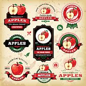 A collection of vintage styled apple labels. EPS 10 file, layered & grouped, with meshes and transparencies (shadows & overall effects only).