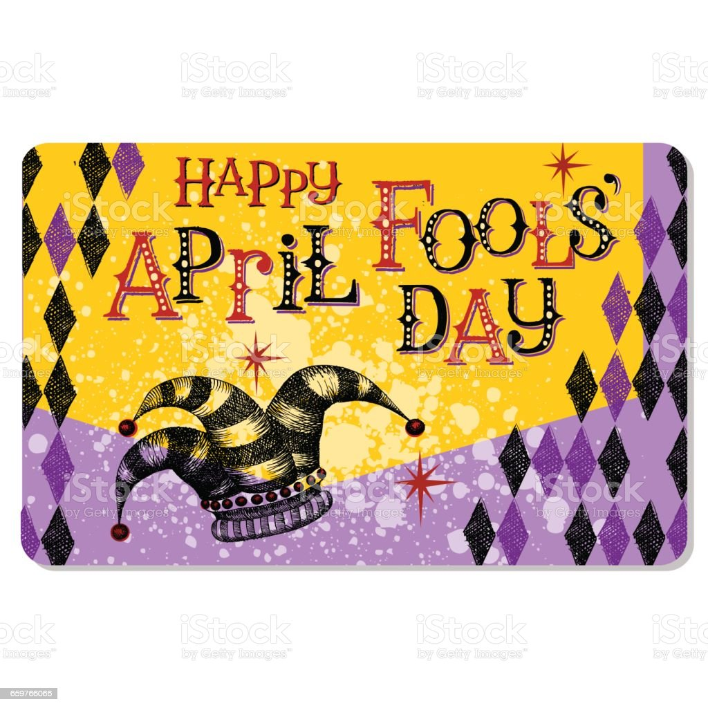 Vintage April Fool's Day card or banner design with jester's hat and hand lettering vector art illustration