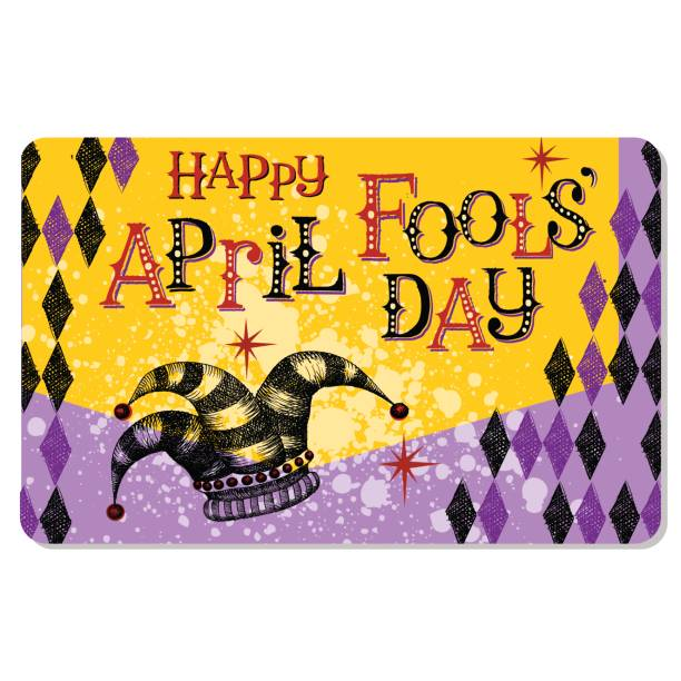 Vintage April Fool's Day card or banner design with jester's hat and hand lettering Vintage April Fool's Day card or banner design with jester's hat and hand lettering and harlequin pattern april fools day stock illustrations