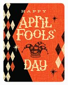 Vintage April Fools Day card or banner with jester hat