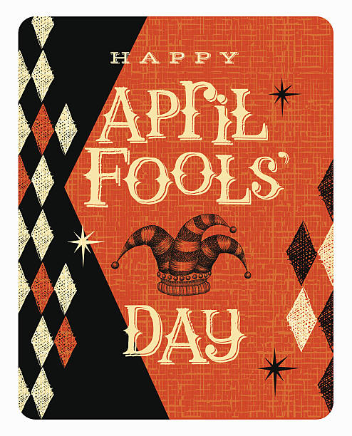 Vintage April Fools Day card or banner with jester hat Vintage April Fools Day card or banner design with jester hat april fools day stock illustrations