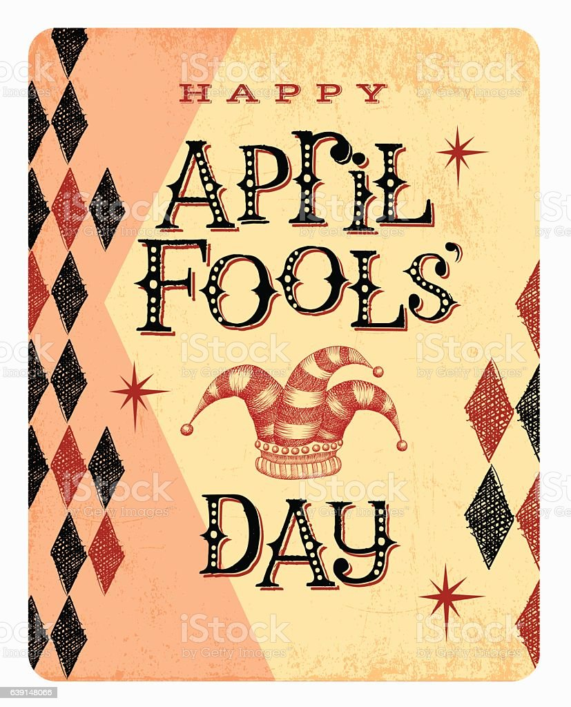 Vintage April Fools Day card or banner with jester hat - Illustration vectorielle