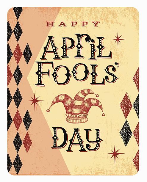 Vintage April Fools Day card or banner with jester hat vector art illustration