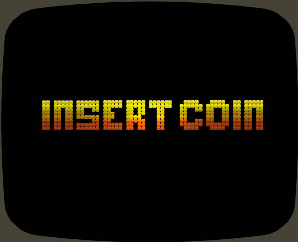 Vintage Arcade game screen Vector illustration of a Vintage Arcade game screen text. Reads Insert Coin inserting stock illustrations