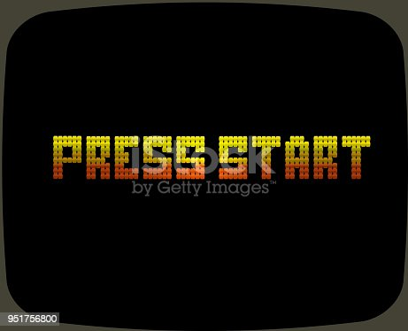Vector illustration of a Vintage Arcade game screen text. Reads Press Start