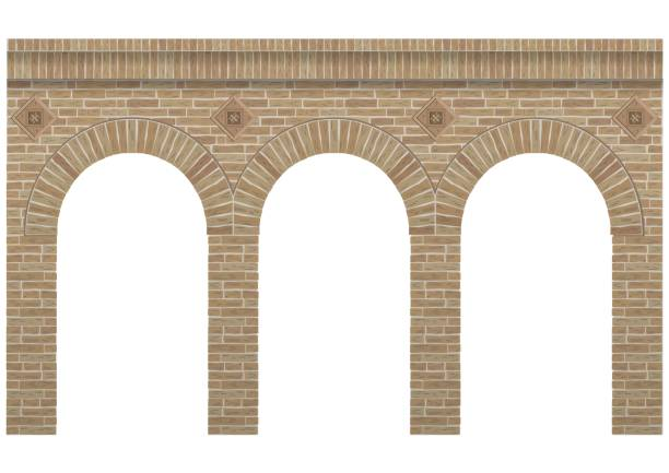 Vintage arcade Vintage arcade of the masonry. Wall and facade of the old brick. Vector graphics arch stock illustrations