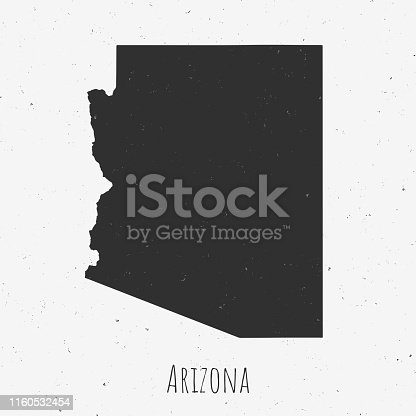 Black and white Arizona map in trendy vintage style, isolated on a dusty white background. A grunge texture is used to have a retro and worn effect. His name is written on the bottom of the image. Vector Illustration (EPS10, well layered and grouped). Easy to edit, manipulate, resize or colorize.