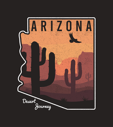 Vintage Arizona t-shirt design with cactus, mountain, eagle and Arizona State map. Typography graphics for tee shirt, retro print with slogan and grunge. Vector