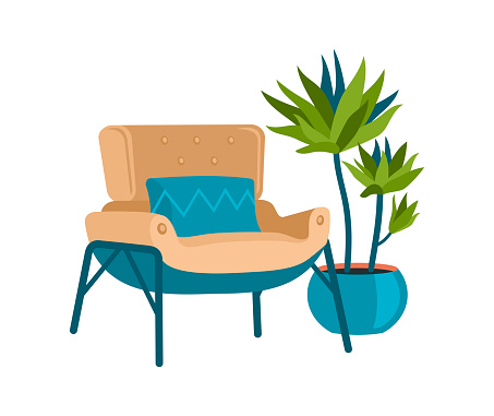 Vintage armchair and decorative palm tree in pot. Soft chair in scandinavian style with blue cushion
