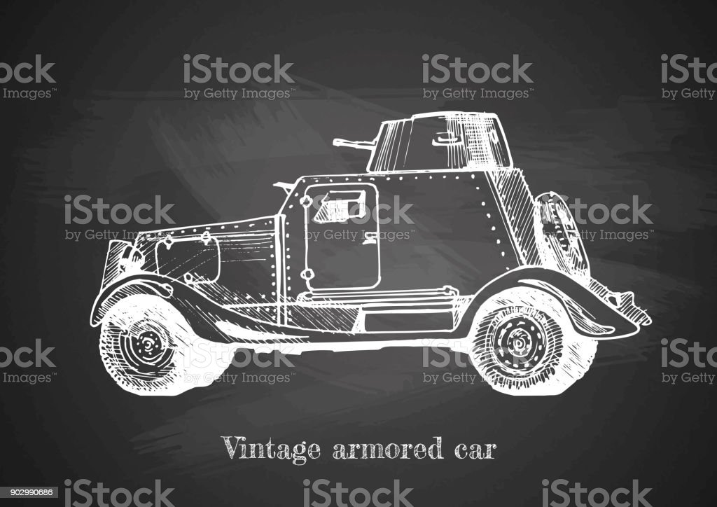 vintage armored car on blackboard vector art illustration