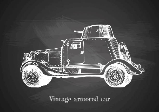 vintage armored car on blackboard vector art illustration