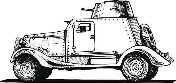 vintage armored car vector art illustration