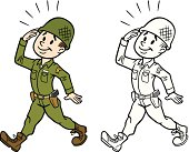Great illustration of a vintage army man saluting. Perfect for a military or USA illustration. EPS and JPEG files included. Be sure to view my other illustrations, thanks!