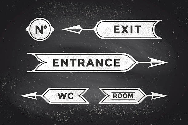 Vintage arrows and banners with inscription Entrance, Exit, Room, WC Vintage arrows and banners with inscription Entrance, Exit, Room and WC. Design elements of set arrow for navigation. Retro style arrow on black chalkboard background. Vector Illustration bathroom borders stock illustrations