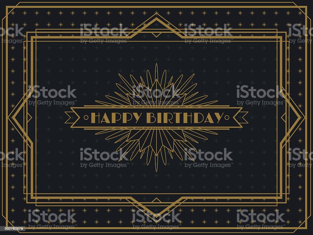 Vintage Art Deco Birthday card frame design vector art illustration