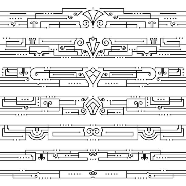 Vintage Art Deco Borders vector art illustration