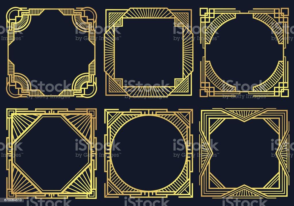 Vintage Art Deco Design Elements Old Classic Border Frames